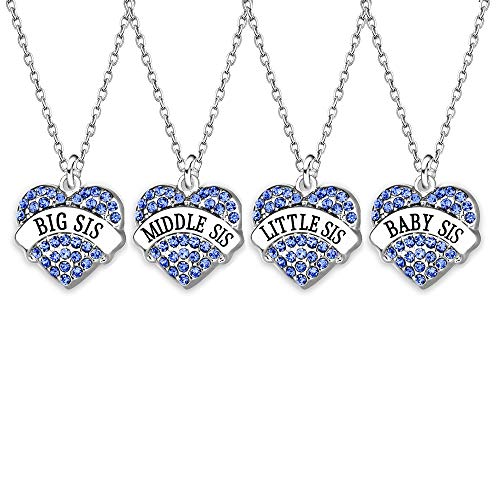 AGR8T 4Pcs Family Jewelry Set Pendant Necklace Big Middle Little Baby Sister Blue Charm Crystal Women Necklace (Blue)