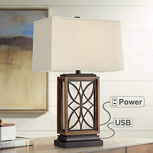 Arthur Rustic Table Lamp with USB and AC Power Outlet in Base LED Nightlight Bronze Rectangular Oatmeal Shade for Living Room Bedroom Bedside Nightstand Office - Franklin Iron Works