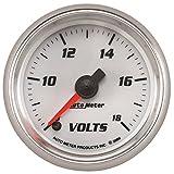 AutoMeter 19792 Pro-Cycle Digital Voltmeter Gauge 2-1/16 in. White Dial Face Fluorescent Red Pointer Blue LED Lighting Digital Stepper Motor 8-18V Pro-Cycle Digital Voltmeter Gauge
