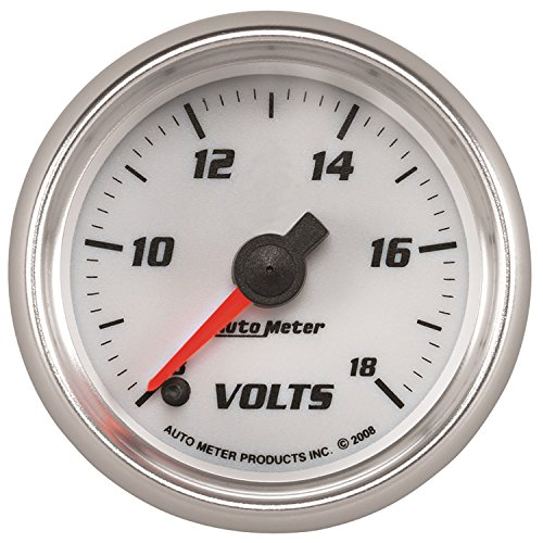 AutoMeter 19792 Pro-Cycle Digital Voltmeter Gauge 2-1/16 in. White Dial Face Fluorescent Red Pointer Blue LED Lighting Digital Stepper Motor 8-18V Pro-Cycle Digital Voltmeter Gauge by Auto Meter