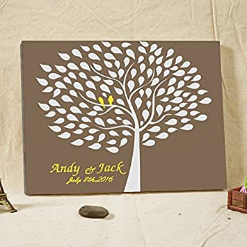 Amazon.com: Elegant Wedding Guest Book with Lovely Birds Art Canvas ...