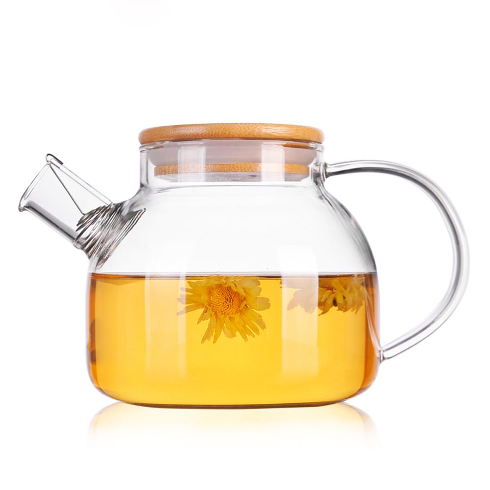 TAMUME 1000ML Glass Teapot with Bamboo Lid and Stainless Steel Filter Coil Glass Water Jug Ideal for Fruit Tea Container and Blooming Teapot (1000ml Bamboo)