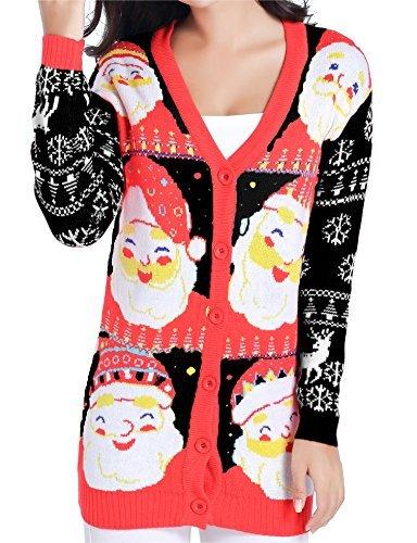 v28 Christmas Sweater Cardigan Ugly Women Plus Vintage Cute Santa Knit Outfit(Medium, LovelySanta -