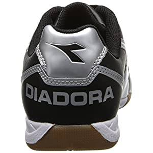 Diadora Men's Capitano LT Indoor Soccer Shoe, Black/White, 10.5 M US