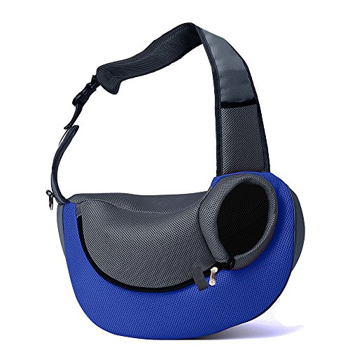 BIG WING Pet Sling Carrier for Dog Cat Pets Travel Shouder Bags, Blue Large Size