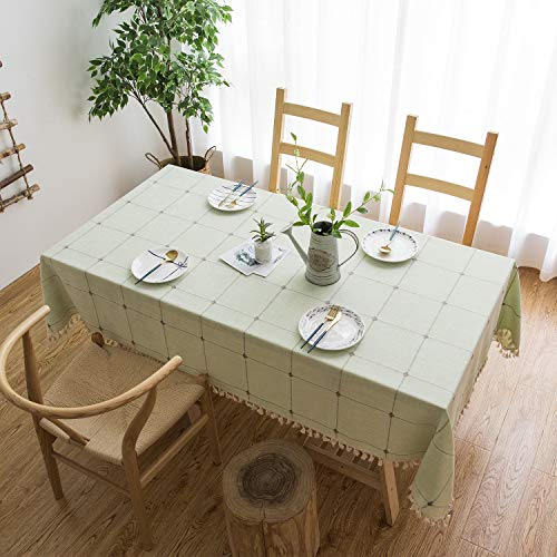 (Mokani Washable Cotton Linen Solid Embroidery Checkered Design Tablecloth, Rectangle Table Cover Great for Kitchen Dinning Tabletop Buffet Decoration (55 x 86 Inch, Green))