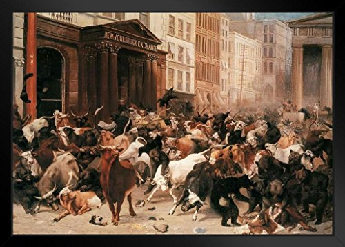 William Holbrook Beard The Bulls and Bears in The Market 1879 Oil Painting Art Print Framed Poster 14x20 inch ()