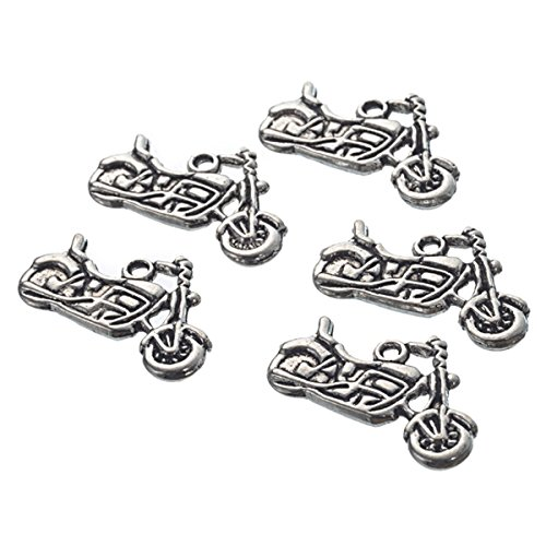 PEPPERLONELY Brand 30 Piece Antique Silver Motorcycle Charms Pendants 24x14mm (Motorcycle Charm)
