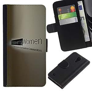 KingStore / Leather Etui en cuir / Samsung Galaxy S4 IV I9500 / Mujer de trabajo Poder Derechos potentes