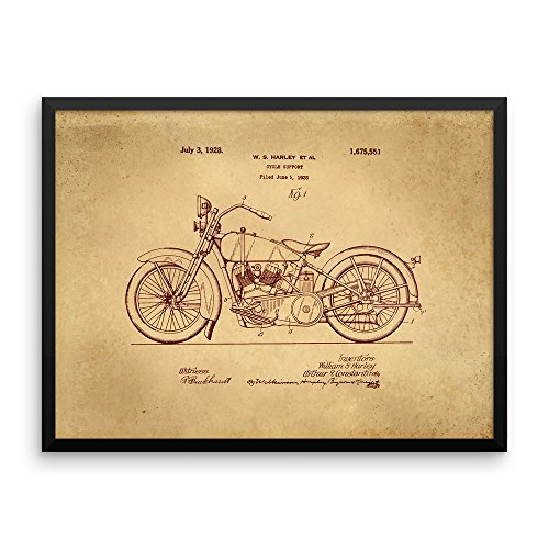 1928 Harley Davidson Motorcycles JDH Twin Original Patent Print Framed Poster - Unique Gift - Print in Wood Frame with Black Smooth Finish (18