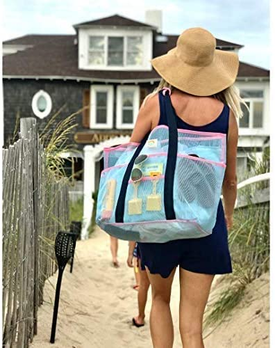 Mesh Beach Bag – Large Family Tote & Pool Bag - Extra Storage - 9 Oversized Pockets for Organization & Zippers, Comfortable Shoulder Strap - Stylish Blue and Pink - Women and Men