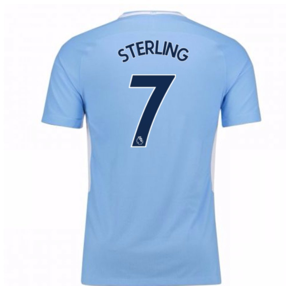 2017-18 Man City Home Football Soccer T-Shirt Trikot - Kids (Raheem Sterling 7)