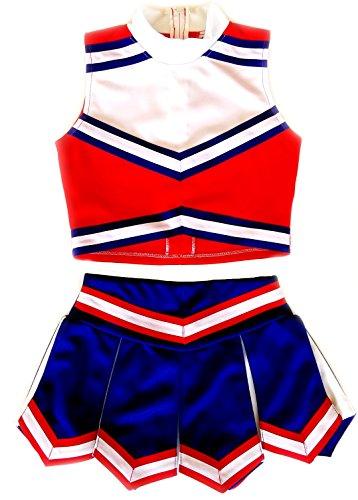 Little Girls' Cheerleader Cheerleading Outfit Uniform Costume Cosplay Red/Blue/White (XL / (Toddler Cheerleader Costume)