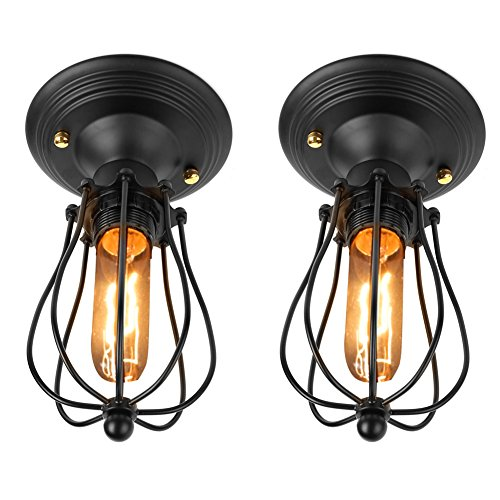 Fuloon Vintage Retro Iron Ceiling Lamp Flush Mount Light Grapefruit Light( Light Bulb Not Included) (2Pcs Ceiling Lamp) ()