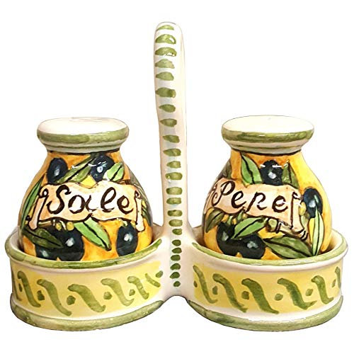 (CERAMICHE D'ARTE PARRINI - Italian Ceramic Set Salt and Pepper Shakers Pots Art Pottery Hand Painted Decorated Olives Made in ITALY Tuscan)