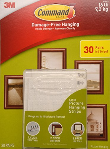 Command Picture Hanger - Command Damage Free Picture and Frame Hanging, Large Strips (30 Pairs)