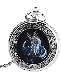 Dragon Pocket Watch with Chain Mechanical Hand Wind Up Steampunk Skeleton Dial Silver Tone Case PW