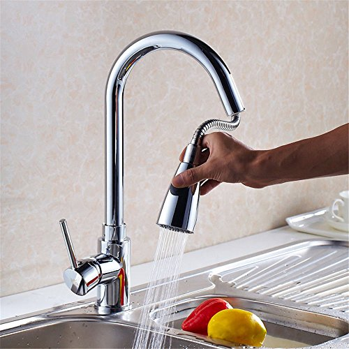 Single-Handle Kitchen Mixer Sink Tap Kitchen Faucet Brass kitchen faucet sink sink faucet multi-function pull-type spray hot and cold mixing valve 360   ° rotating plating with US Standard Fittings