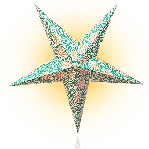Happy Sales HSSL-FFLWGY, Winter Ivy Paper Star Lantern Green - Ivy Star