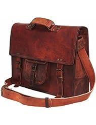 DHK Genuine Leather Laptop Bag Leather Messenger bag 15 Briefcase bag