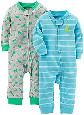 Simple Joys by Carter's Baby Boys' 2-Pack Cotton Footless Sleep and Play, Dino/Light Blue Stripe, Preemie by Carter's Simple Joys - Private Label that we recomend personally.