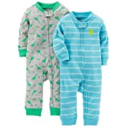 Simple Joys by Carter's Baby Boys' 2-Pack Cotton Footless Sleep and Play, Dino/Light Blue Stripe, 0-3 Months