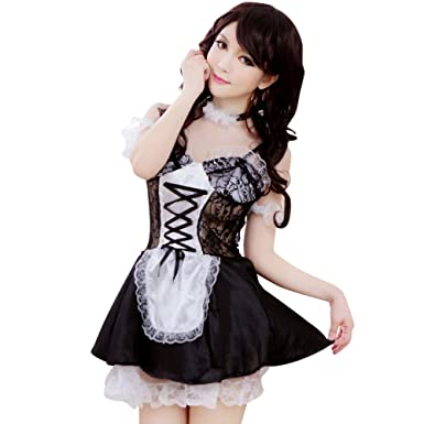 6fd07a422 Image Unavailable. Image not available for. Color  YOMORIO Lace French Maid  Uniform Lolita Anime Cosplay Lingerie Vintage Sweet Princess Dress