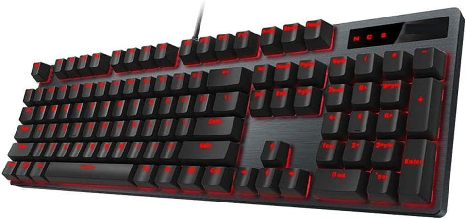 Sunsamy Gaming Mechanical Keyboard 104 Key USB Wired Optical Switch Red Light Mechanical Gaming Keyboard Color : Black, Size : One Size