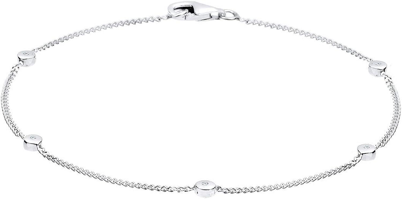 Diamore - Pulsera de plata de ley con diamante (.05) con cierre de mosquetón (18 cm)