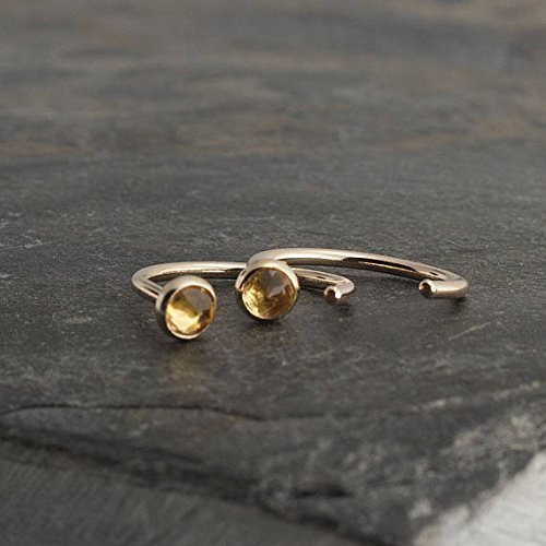 Rhodolite Yellow Earrings - Gold Open Hug Hoop Hugging Minimalist Earrings Citrine Stone 3mm
