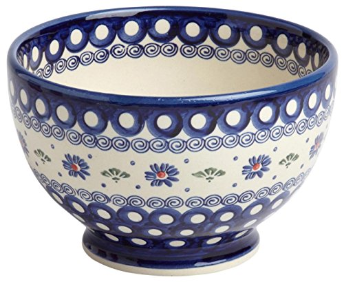 Polish Pottery Peacock Floral Dot Footed Serving Bowl, 7