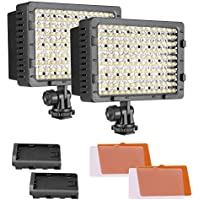 NEEWER 2-Pack 160 LED CN-160 Dimmable Ultra High Power Panel Digital Camera / Camcorder Video Light, LED Light for Canon, Nikon, Pentax, Panasonic,SONY, Samsung and Olympus Digital SLR Cameras