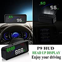 【Upgrade】Universal Multi-function Head Up Display - Menhoud OBD2/ EUOBD Car HUD , Plug & Play ,Display KM/h MPH,Speeding Warning,Fuel Consumption,Temperature, Driven Mileage (Black)