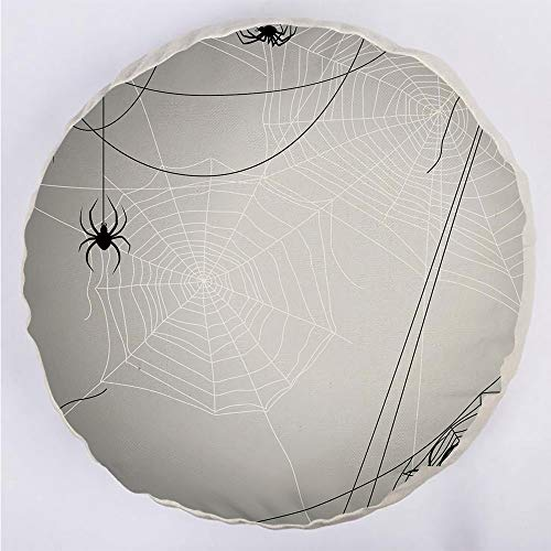 Round Decorative Throw Pillow Floor Meditation Cushion Seating/Spiders Hanging from Webs Halloween Inspired Design Dangerous Cartoon Icon Decorative/for Home Decoration 17