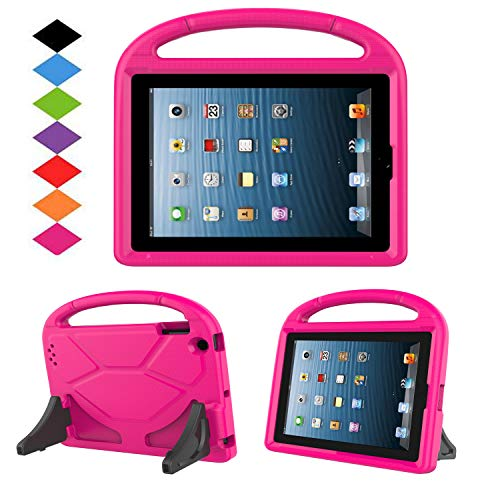 Kids Case for iPad 2 3 4 - TIRIN Shock Proof Convertible Handle Light Weight Durable Super Protective Stand Cover for iPad 4, iPad 3 & iPad 2 2nd 3rd 4th Generation Tablet,Rose (Ipad Case Children)