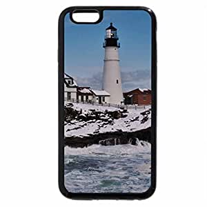 iPhone 6S Plus Case, iPhone 6 Plus Case, lighthouse on a rough seashore in winter