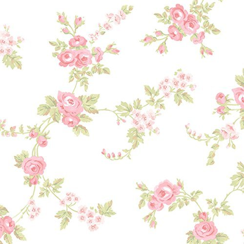 (Norwall AB27658 Cabbage Rose Trail Wallpaper, Cream)