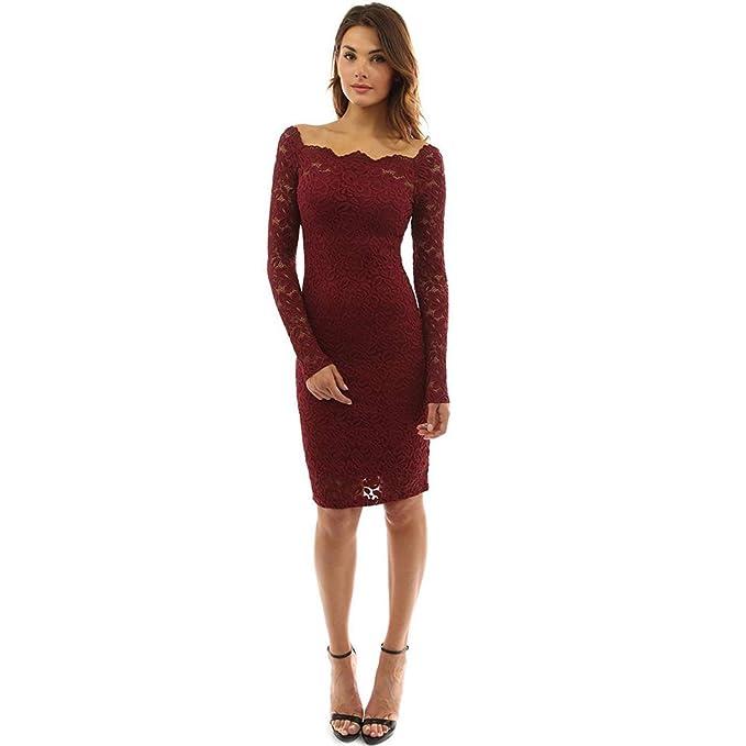 Hongtianyuan Vestido Vestido Rojo Vino Vestido De Las Mujer