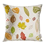 Emvency Throw Pillow Covers Decorative Cases Orange Season Fall Time Leaves Autumn Floral