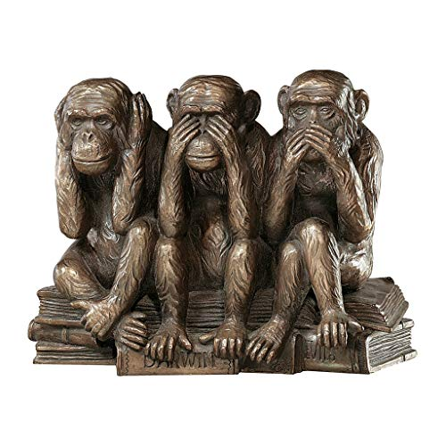 - Design Toscano Hear-No, See-No, Speak-No Evil Monkeys Animal Statue Three Truths of Man Figurine, 7 Inch, Polyresin, Bronze Finish