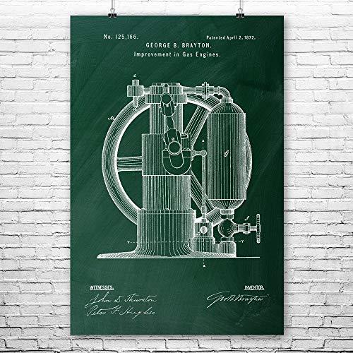 Gas Engine Poster Print, Piston Pump, Steam Punk, Mechanical Engineer, Engineering Gift, Technology Blueprint Chalkboard (Green) (9