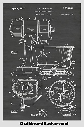 Vintage KitchenAid Mixer Poster Patent Print Art Poster: Choose From Multiple Size and Background Color Options