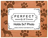 Dog Lover Gift German Shepherd Paw Prints Natural Wood Engraved 5x7 Landscape Picture Frame Wood