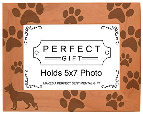 (Gifts For All By Rachel Olevia Dog Lover Gift German Shepherd Paw Prints Natural Wood Engraved 5x7 Landscape Picture Frame Wood)
