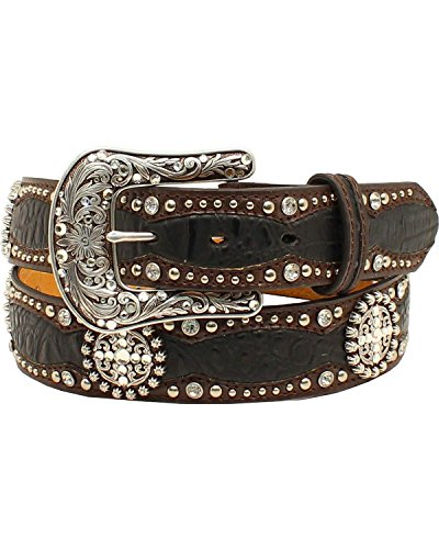 Ariat Women's 1/2'' Faux Gator Concho Belt, Black, Brown, L ()
