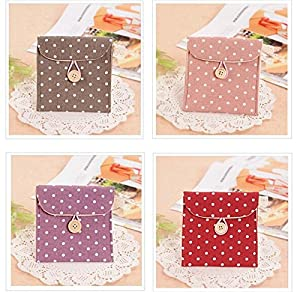 Polka Dot Organizer Storage Female Hygiene Sanitary Napkins Package Small Cotton Storage Bag Purse Case