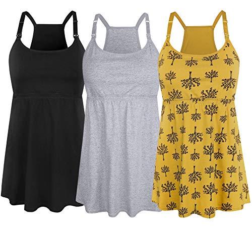 (SUIEK Women's Nursing Tank Top Cami Maternity Bra Breastfeeding Shirts (Small, Black+Grey+Yellow Print - Fourth Style))