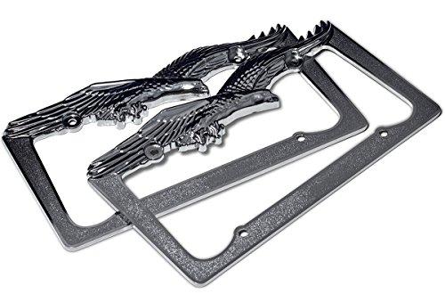 OxGord LF-ZN-112pc OxGord American Bald Eagle Chrome Metal License Plate Frame 2pc