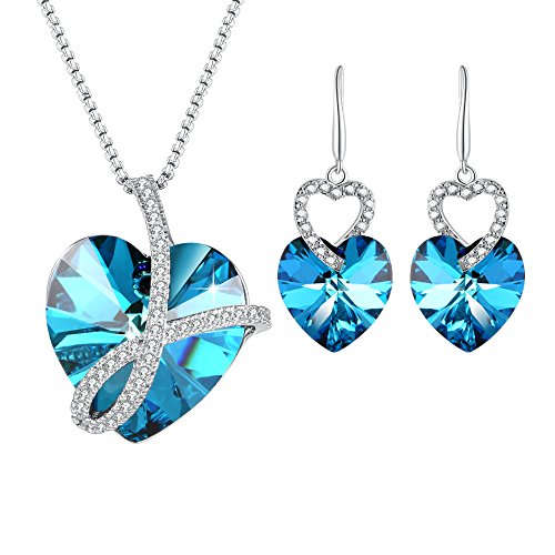 PLATO H Heart of Ocean Pendant Necklace Earrings Jewelry Set with Swarovski Crystals Valentine's Day Gift by PLATO H
