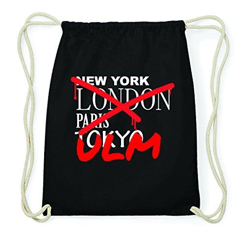 JOllify ULM Hipster Turnbeutel Tasche Rucksack aus Baumwolle - Farbe: schwarz Design: Grafitti nPvtnRjG